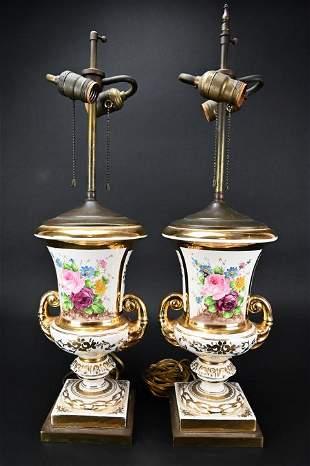 Pair Old Paris Floral Porcelain Table Lamps