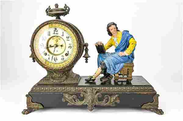 19th C Ansonia Bronze Figural Mantel Clock