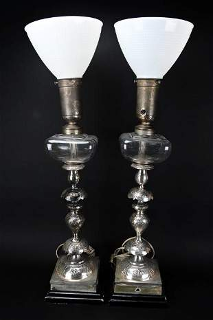 Pair Converted Candlesticks / Oil Lamps