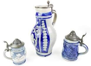 3 German Salt Glazed Stoneware Beer Steins