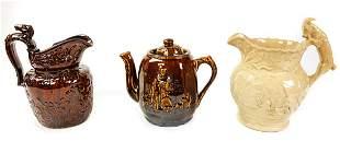 Lot Antique English Figural Pitchers & Teapot