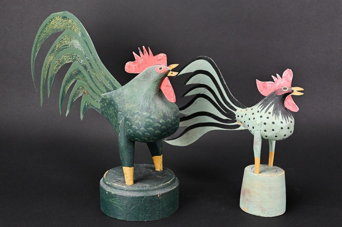 2 Gary Matteson Carved Folk Art Rooster Sculptures