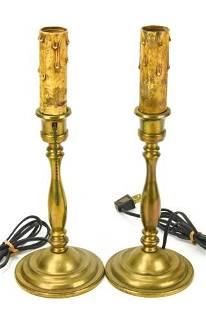 Antique Tiffany Studios Brass Candlestick Lamps