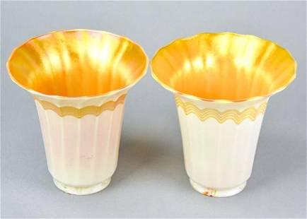 Antique Quezal Iridescent Art Glass Lamp Shades