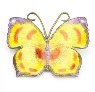 Estate Enamel Decorated Figural Butterfly Brooch