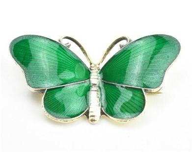 Estate Norway Sterling & Enamel Butterfly Brooch