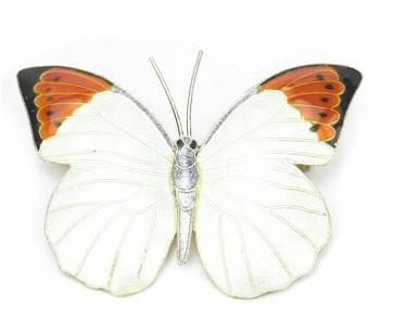 Estate Enamel & Silver Figural Butterfly Brooch