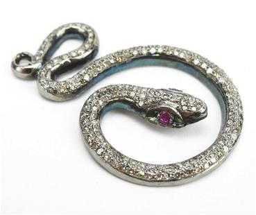 Pave Diamond Coiled Snake Necklace Pendant