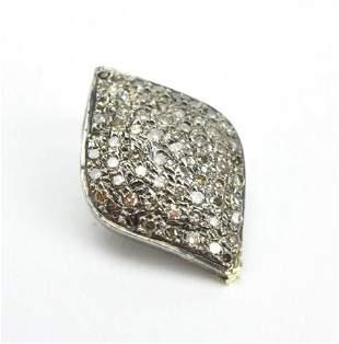 Pave Diamond Sterling Silver Necklace Pendant