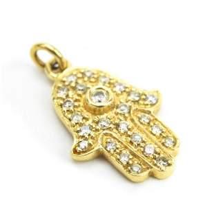 14kt Yellow Gold & Pave Diamond Hamsa Pendant