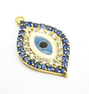 18kt Yellow Gold & Diamond Evil Eye Pendant