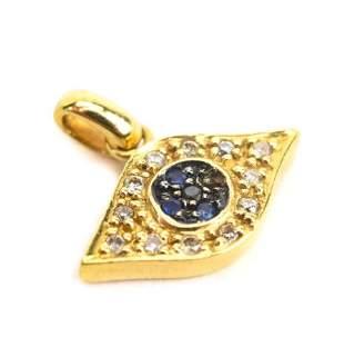 14kt Yellow Gold & Diamond Evil Eye Pendant