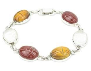 Sterling Silver Egyptian Revival Bracelet w Stones