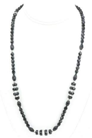 Estate Art Deco French Jet & Crystal Bead Necklace