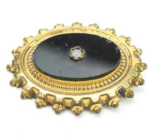Antique 19th C Victorian Gold Filled Brooch