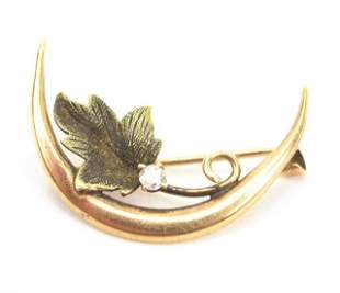 Antique 10kt Gold & Diamond Crescent Brooch