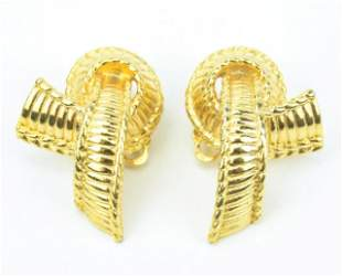 Pair Vintage French Givenchy Clip on Gilt Earrings