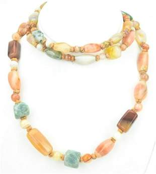 Estate Hand Knotted Specimen Agate Bead Necklace