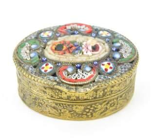 Vintage Italian Micro Mosaic & Ormolu Pill Box
