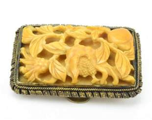 Antique Chinese Silver Buckle w Mounted Carving