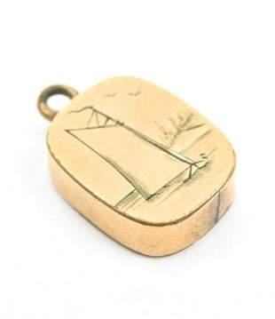Antique 19th C Gold Sail Boat Necklace Pendant Fob