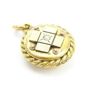 Antique 19th C Gold Pearl & Garnet Pendant / Charm