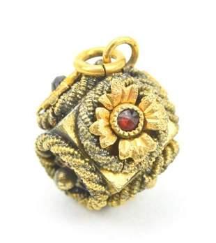 Antique 19th C Etruscan Style Gold Garnet Pendant