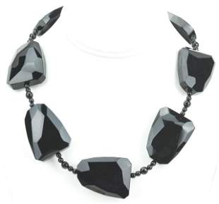 10kt Gold Large Scale Faceted Onyx Bead Necklace