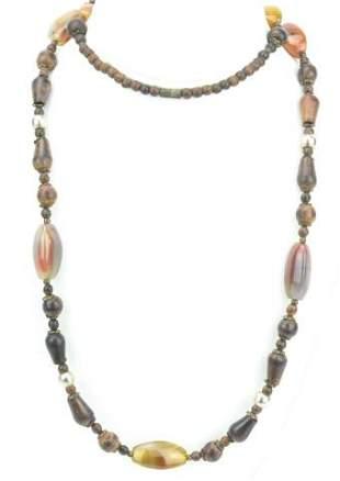Handmade Necklace w Carnelian, Agate & Wood Beads