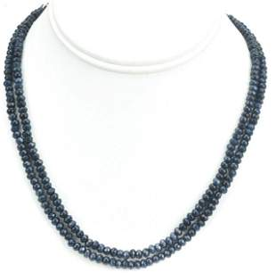 Pair 120 Carat Faceted Sapphire Necklace Strands