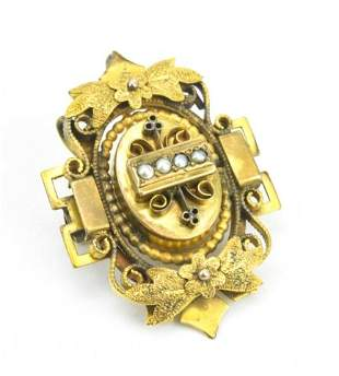 Antique 19th C Gold & Seed Pearl Brooch Pendant