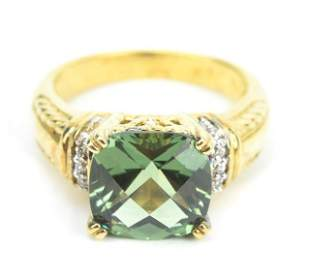 David Yurman Style Green Amethyst Cocktail Ring