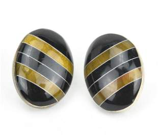 Vintage Sterling Silver & Enamel Button Earrings