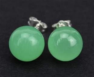 Pair of Sterling Silver & 8mm Green Jade Earrings