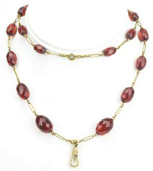 Antique 19th C Cherry Amber Necklace w Dog Clip
