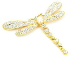 Large Rhinestone Costume Jewelry Dragonfly Brooch