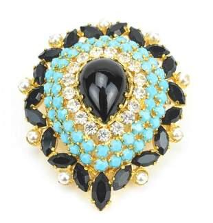 Vintage Austrian Crystal Costume Jewelry Brooch