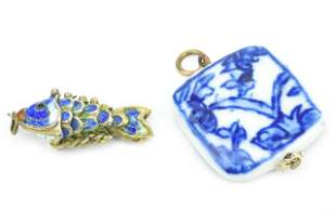 Chinese Enamel Koi Fish & Porcelain Pendant