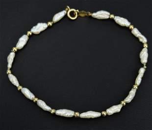 Estate 14kt Gold & Baroque Pearl Bracelet