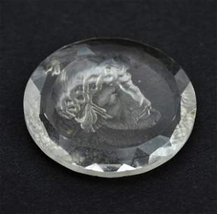 Estate Carved Crystal Pendant w Intaglio of Christ