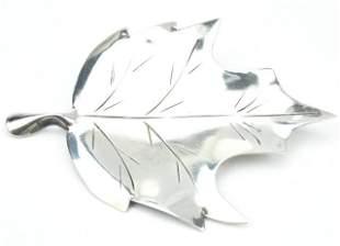 Large Modernist Sterling Figural Leaf Brooch