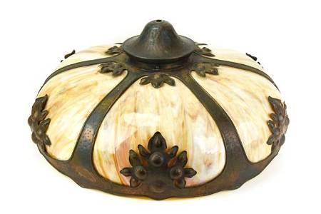 Antique Arts & Crafts Slag Glass Pendant Light