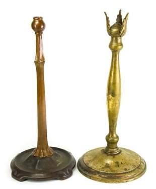 Antique Bronze Lamp Base & Leonard Pedestal Base