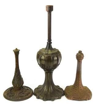 Antique Art Nouveau Cast Iron Lamp Bases
