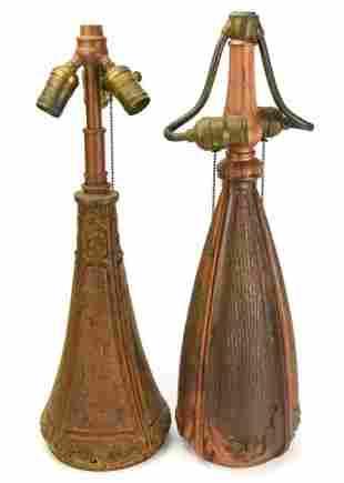 Antique Arts & Crafts Cast Iron Table Lamps