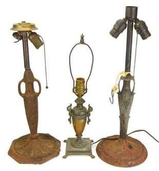 3 Antique Cast Metal Amphora Form Table Lamps