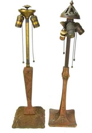 Antique Arts & Crafts Bronze Table Lamps