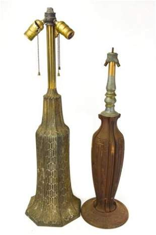 2 Antique Arts & Crafts Cast Iron Table Lamps