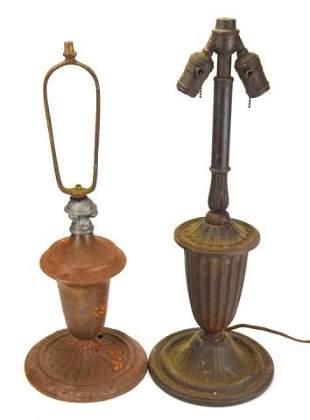 2 Antique Arts & Crafts Cast Iron Vase Forms Lamps