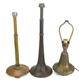 3 Bradley & Hubbard Arts & Crafts Bronze Lamp Base